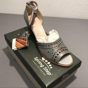 SPRING STEP kanisha grey ankle sandal strap heel
